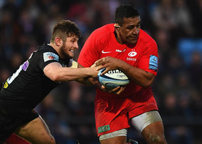 Mako Vunipola playing rugby